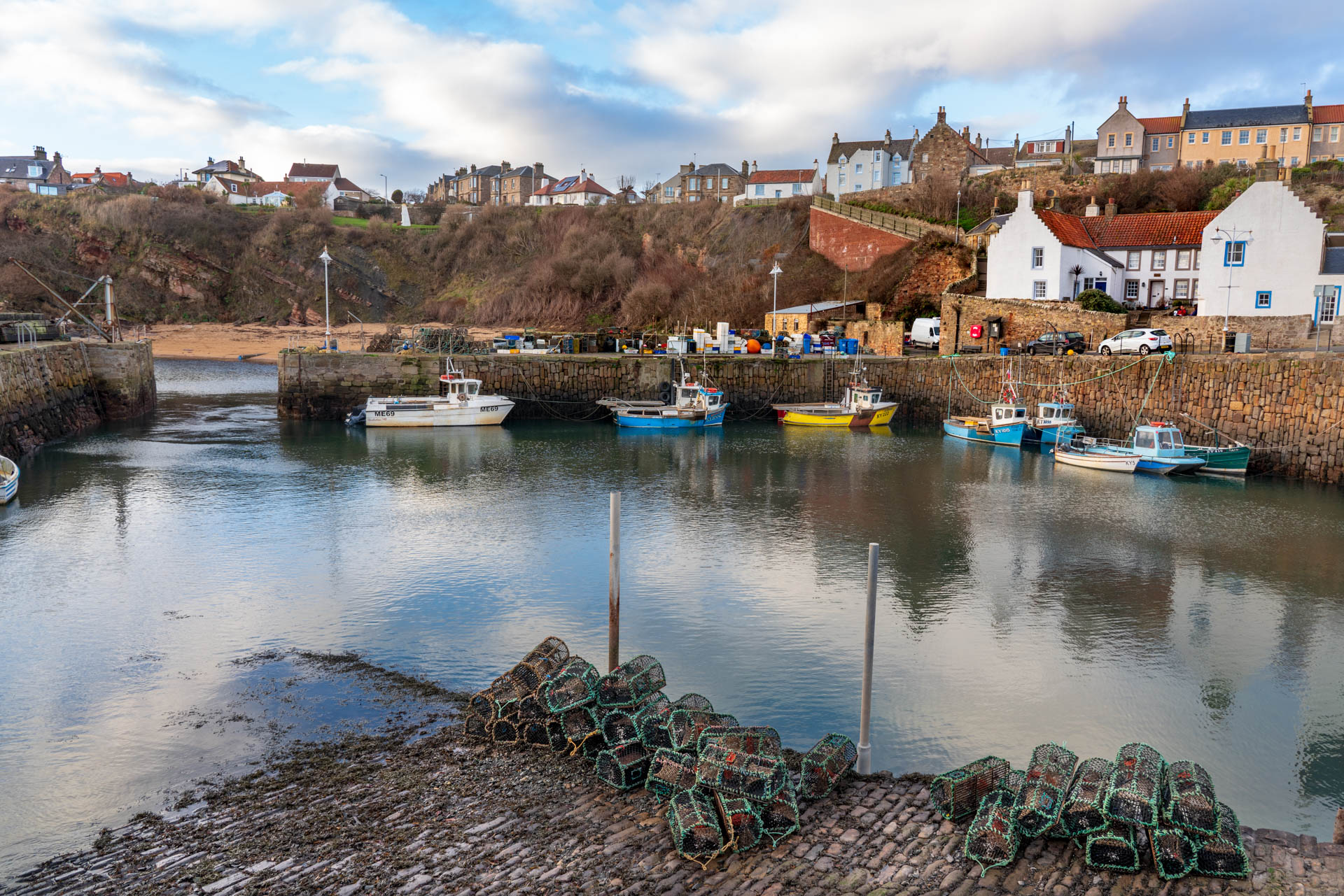 Crail harbour and seafood cages | f/11 1/30sec ISO-200 24mm