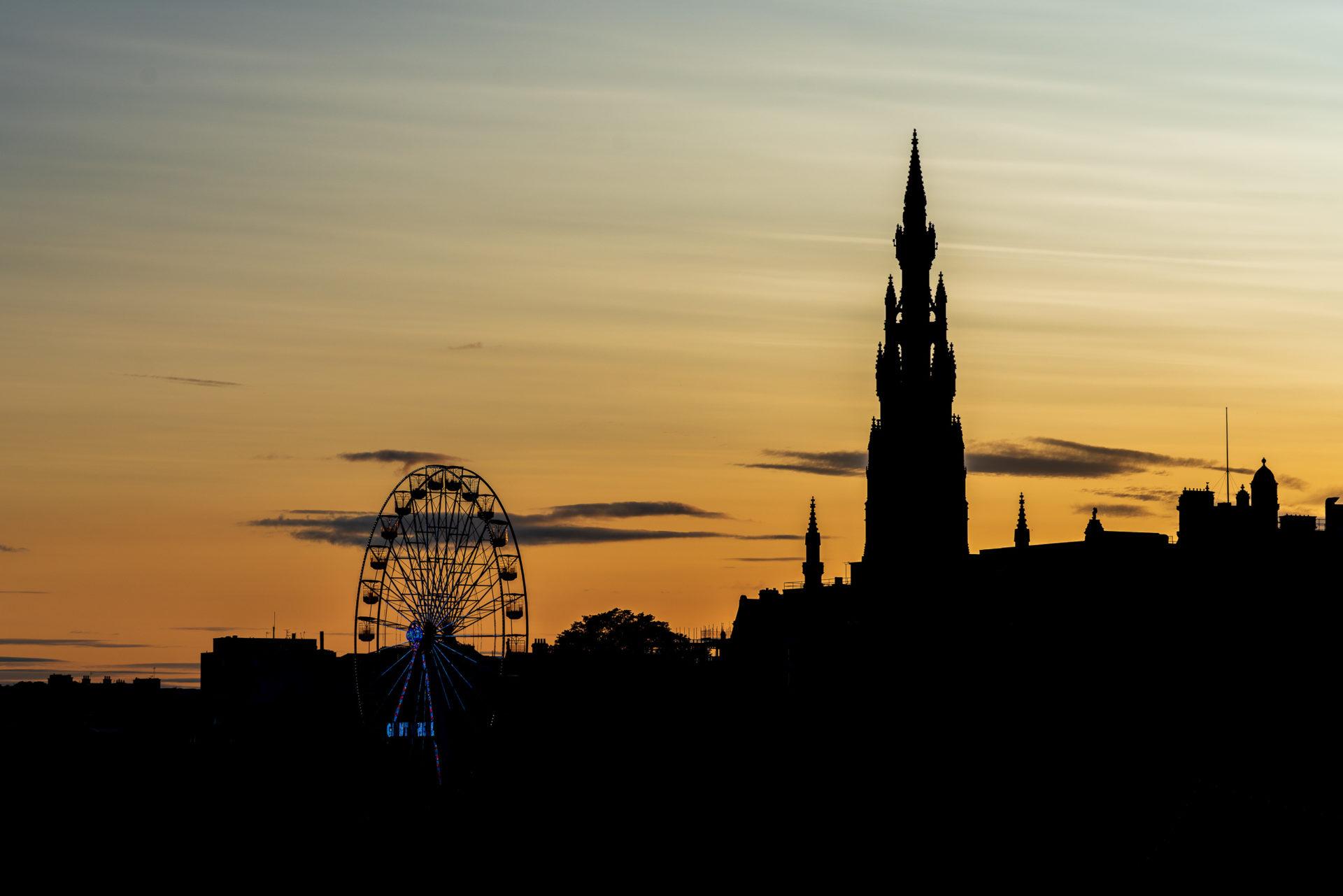Edinburgh skyline after sunset