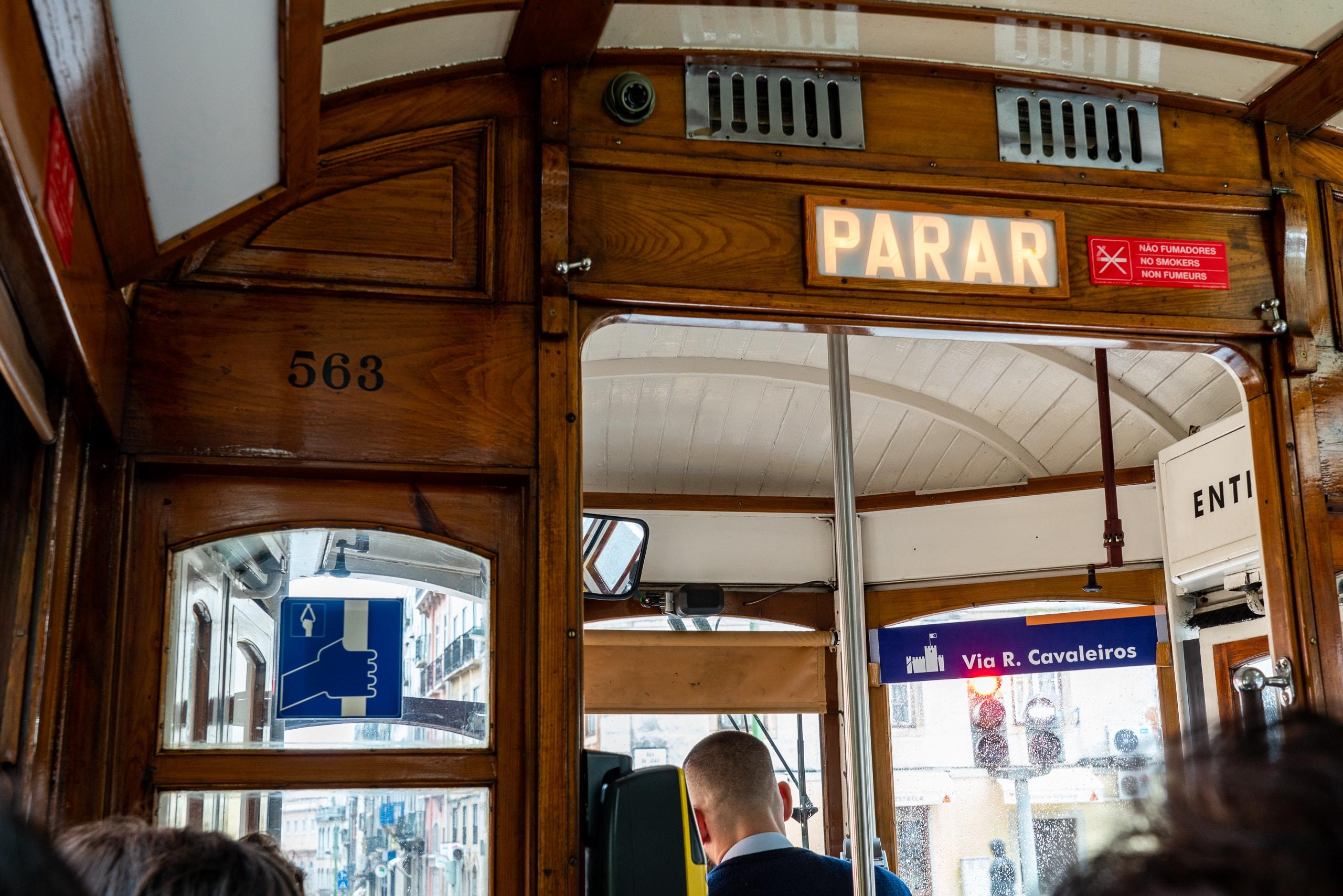 Inside the Lisbon tram