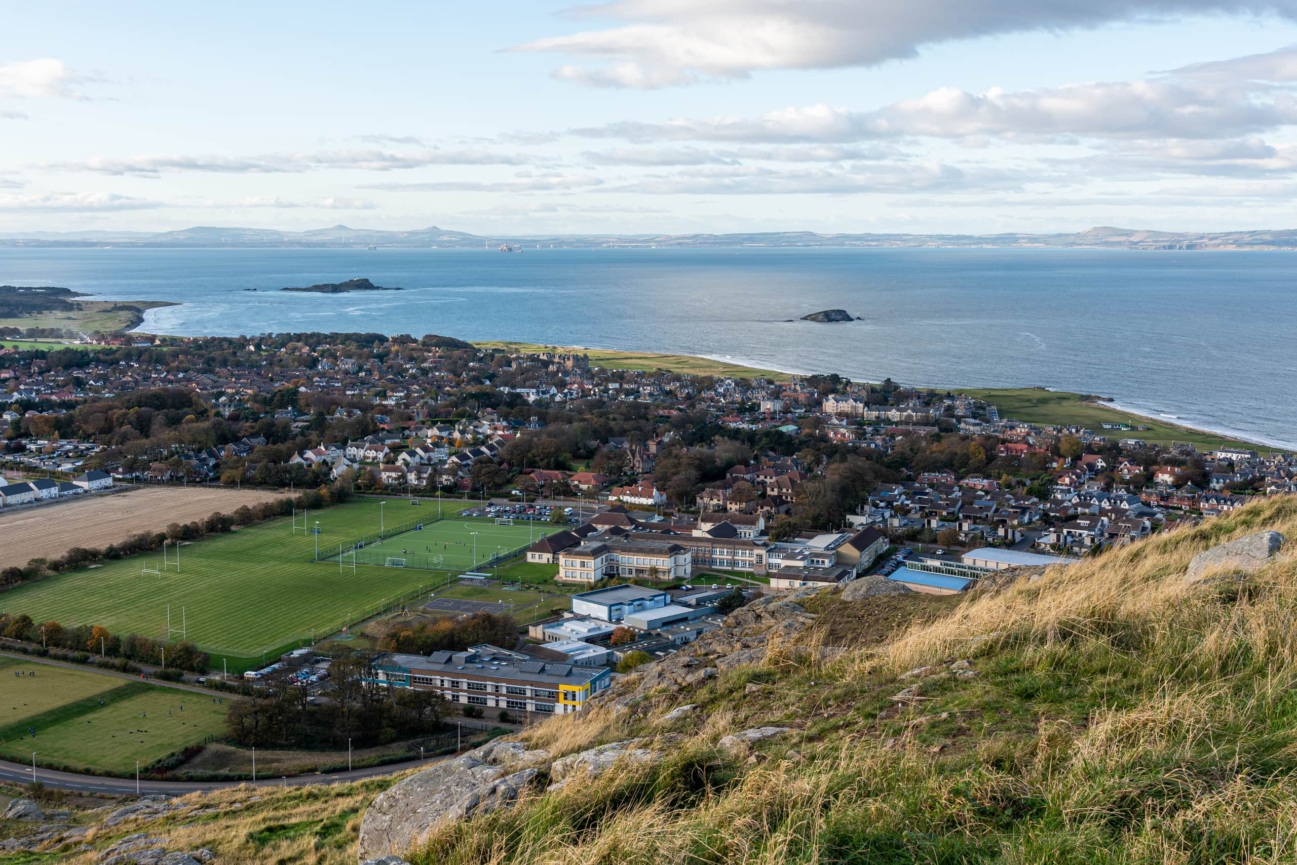 View towards the town from North Berwick Law | f/11 1/50sec ISO-160 28mm  | ILCE-7RM3