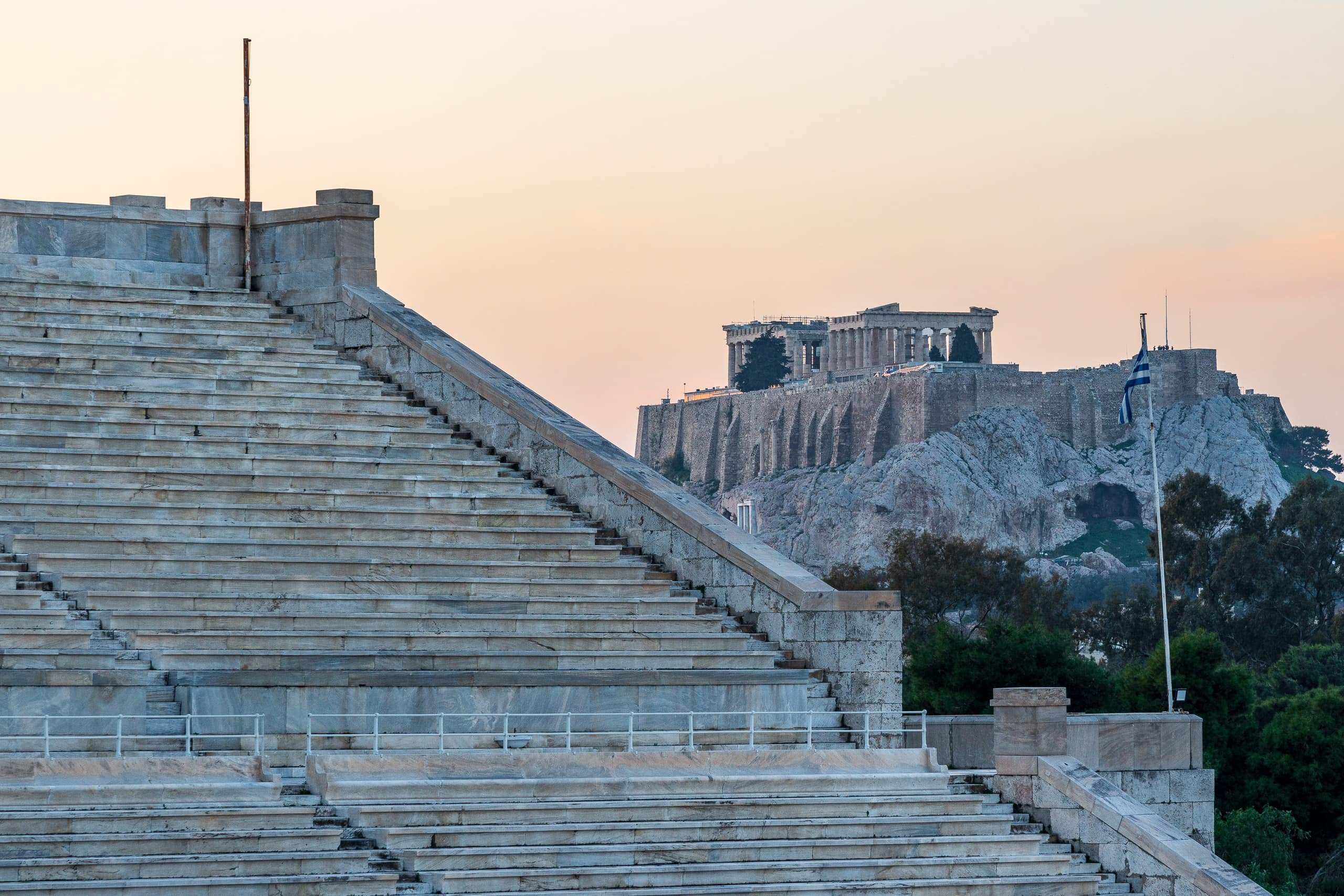 View from Panathenaic Stadium towards Parthenon